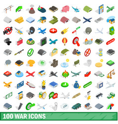 100 war icons set isometric 3d style vector
