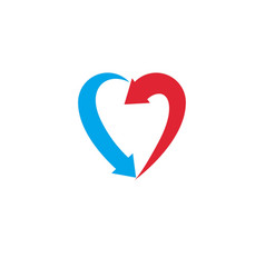 Heart symbol created with two arrows conceptual vector