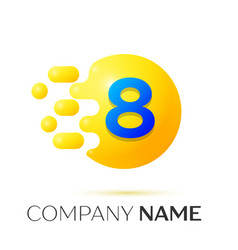 number eight splash logo yellow dots and bubbles vector image