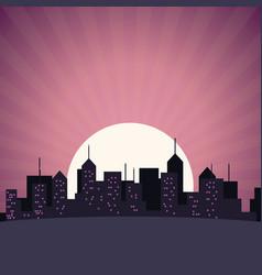 City skyline building skyscrapers sunset view vector