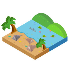 3d design for ocean scene with sea animals vector image