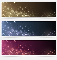 Magic christmas header footer flyer collection vector
