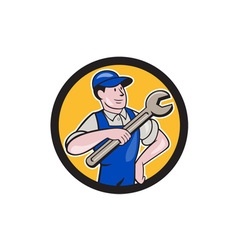 Mechanic pointing spanner wrench circle cartoon vector