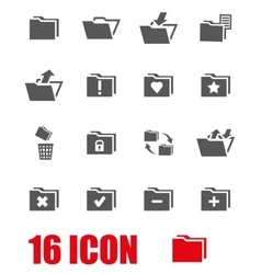 grey folder icon set vector image