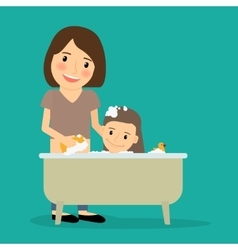 Mother bathing baby girl vector
