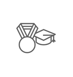 Graduation cap with medal line icon vector