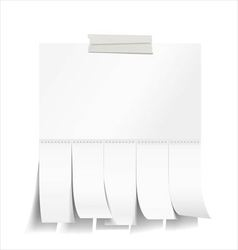 Blank white paper with tear off tabs vector