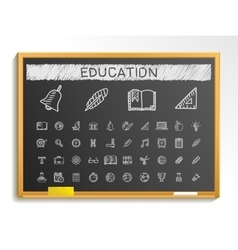 Education hand drawing line icons chalk sketch vector