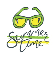 Summer time sunglasses green yellow vector