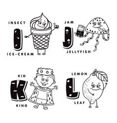 alphabet letter i j k l depicting an ice-cream vector image