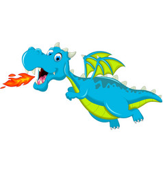Blue dragon cartoon flying vector