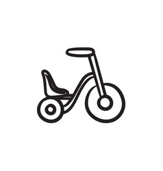 Child bike sketch icon vector
