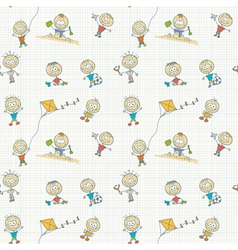Children play seamless wallpaper vector image