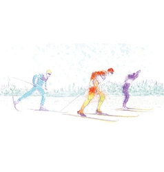 Cross-country skiing vector