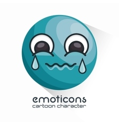 emoticon crying face icon vector image
