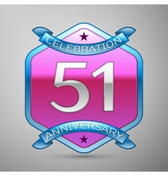 Fifty one years anniversary celebration silver vector