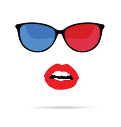 girl face with sunglasses vector image
