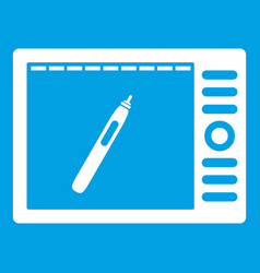 Graphics tablet icon white vector