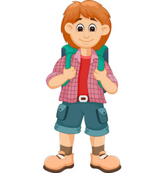 handsome backpacker cartoon posing with smile vector image vector image