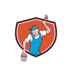 House Painter Paintbrush Paint Bucket Crest vector image vector image