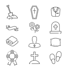 Icons set for funeral agency line symbols vector