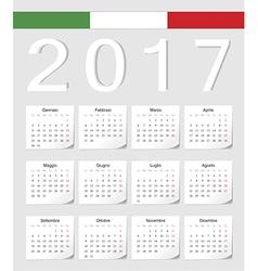 Italian 2017 calendar with shadow angles vector