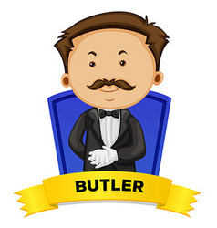 Label design with male butler vector