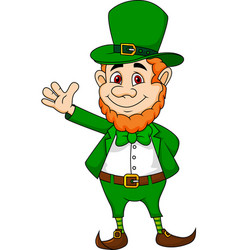 Leprechaun cartoon waving hand vector image