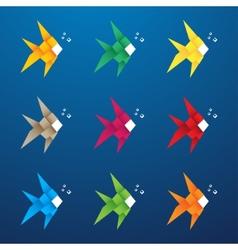 Multicolored origami fish vector