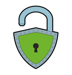 Padlock with shield shape vector