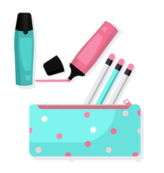 Pencil case with pencils and markers vector