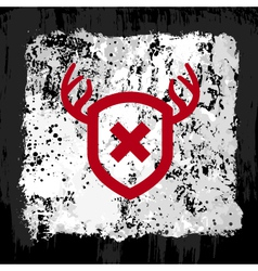 red shield grunge design vector image