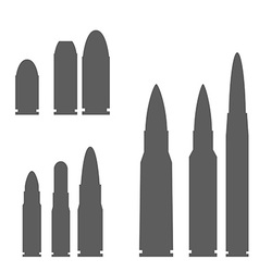 Set of bullets silhouettes vector