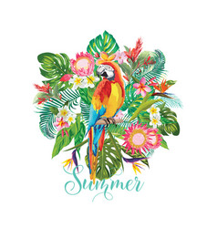 tropical flowers and parrot bird background vector image vector image
