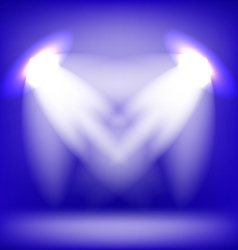 Two Spotlights Isolated on Blue Background vector image