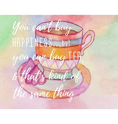 Watercolor card with cup of tea and marshmallow vector