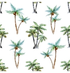 Watercolor palm trees pattern vector