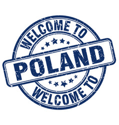 Welcome to poland blue round vintage stamp vector
