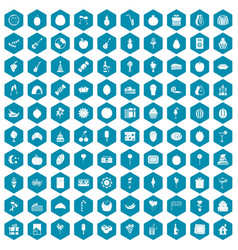 100 fruit party icons sapphirine violet vector image vector image