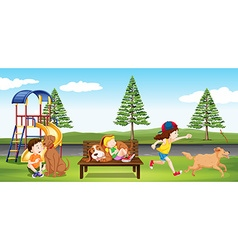 Children hanging out in the park vector image