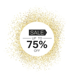 White circle with sale typography in gold sparkles vector