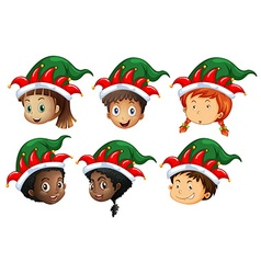 Christmas theme with kids in elf hats vector