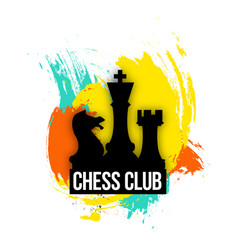 bright logo for a chess companies club or play vector image