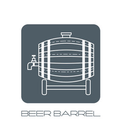 Beer wooden barrel with a tap white linear flat vector