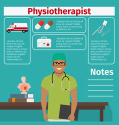 Physiotherapist and medical equipment icons vector