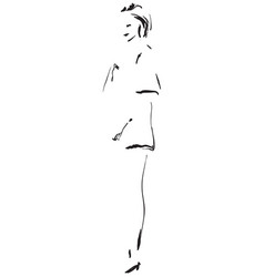 fashion model sketch cartoon girls silhouette vector image