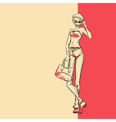 Sketch of stylish woman in full length vector