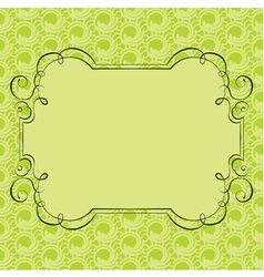 Ornate frame on green retro background vector