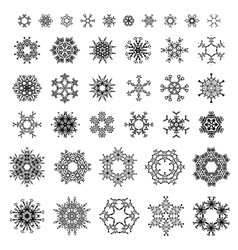 38 black ornate snowflakes isolated on white vector
