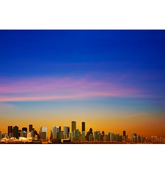 Abstract sunrise background with panorama of city vector